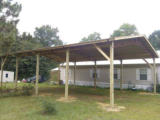 Pole Barn With Lower Overhang Side View2 Jordan Truss